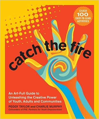 """Book cover with title """"Catch the Fire"""" with a colorful hand and sun."""
