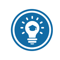 graphic with a light bulb and a graduation cap