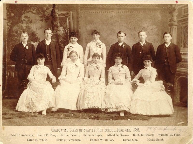 First Graduating Class of Seattle High School, June 4th, 1886