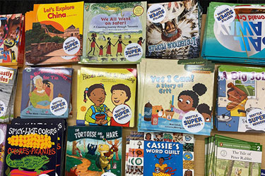 A group of early reader books