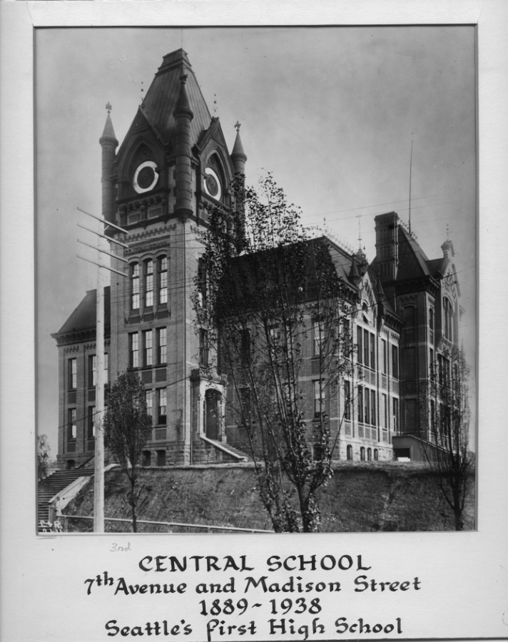 Central School Building. 7th Avenue and Madison Street. 1889-1938. Seattle's first high school