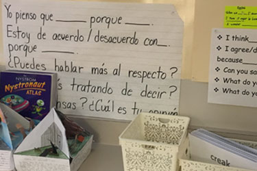 A classroom with materials in Spanish