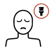 An illustration of person with sad face and thinking bubble with a toilet