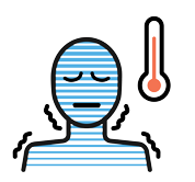 An illustration of blue person with thermometer