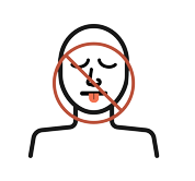 An illustration of a person with a cross out over their nose and mouth