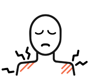 An illustration of person with pain on their shoulders