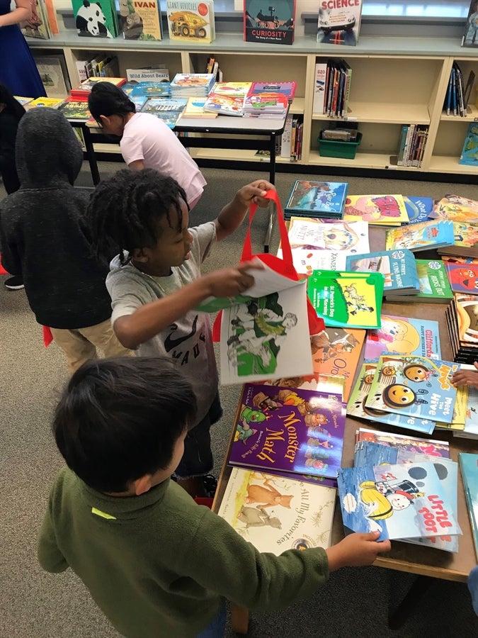 Students at book fair