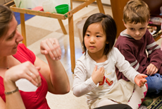 kindergarten students and teacher