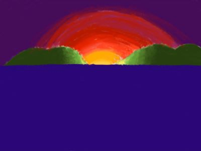 A painting of a sun on a horizon