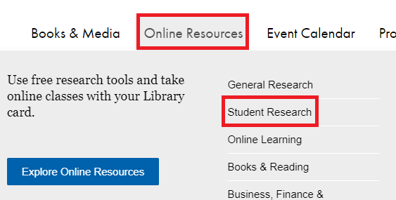click online resources and then click student research