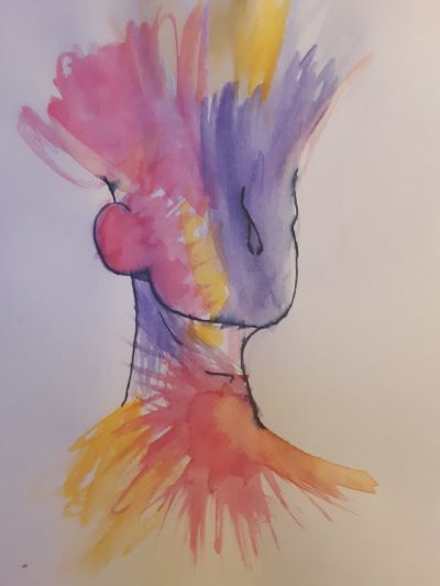 A abstract painting of a person's head