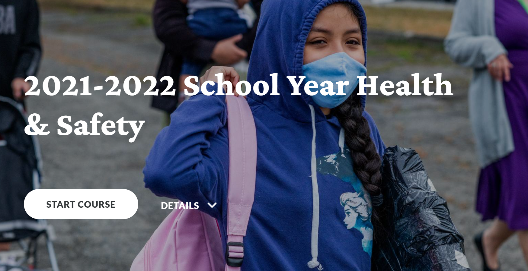 Health Course Cover - student wearing a mask and a backpack arriving at the school.