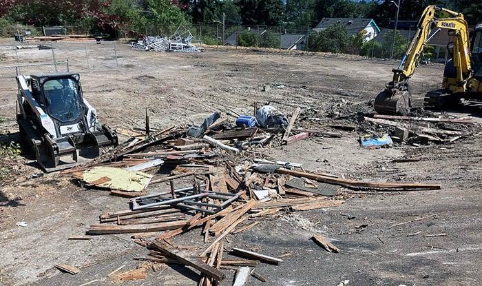 demolition debris and construction equipment