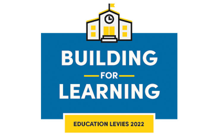 """Logo for SPS levies includes a school building and text """"Building for Learning Education Levies 2022"""""""