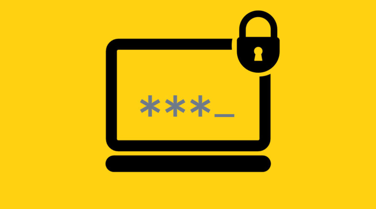 A laptop and lock icon with password