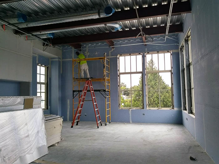 a window in a room under construciton