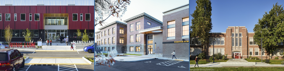 3 photos of newly completed school buildings