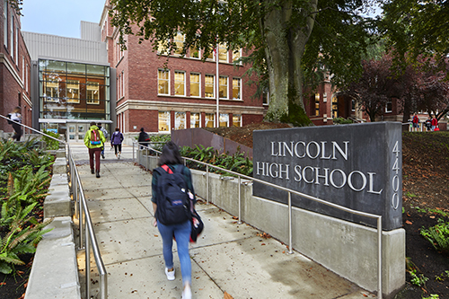 New entrance to Lincoln High School